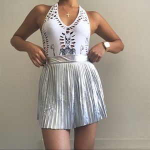 #metallic #silver pleated #skirt #pleatedskirt